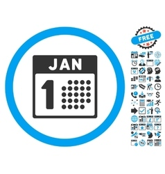 January First Flat Icon With Bonus vector image