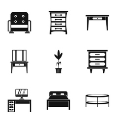 Type of furniture icons set simple style vector