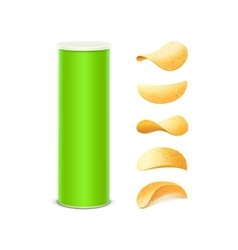 Set of Green Container Tube with Potato Chips vector image