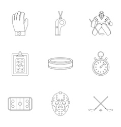 Canadian hockey icons set outline style vector
