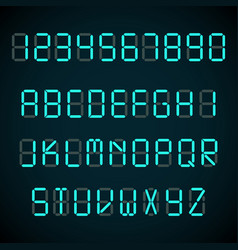 digital font alarm clock letters and numbers vector image
