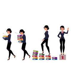 Beautiful businesswoman carrying folders success vector
