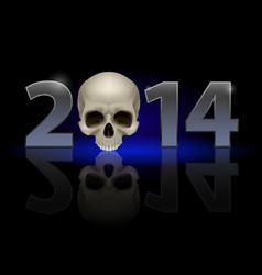 2014 metal numerals with skull instead of zero vector image