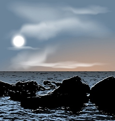 Nature background sea stones during dusk vector
