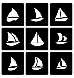 Black sailboat icon set vector