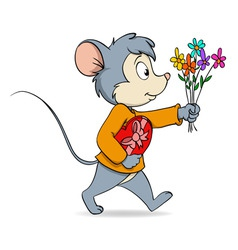 Cartoon cute mouse with heart gift box and flowers vector