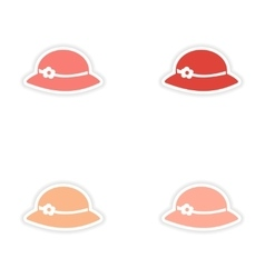 Assembly realistic sticker design on paper hats vector