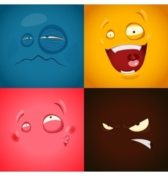 Set with cute cartoon emotions vector