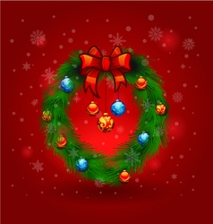 Christmas wreath decoration merry christmas card vector