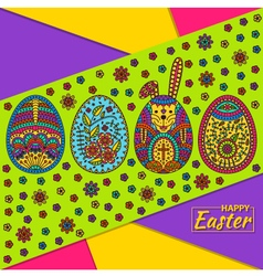 Easter pattern with eggs and white easter rabbit vector