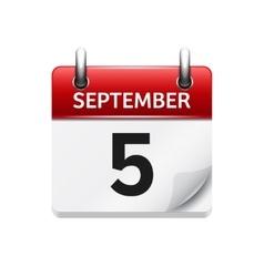 September 5 flat daily calendar icon vector