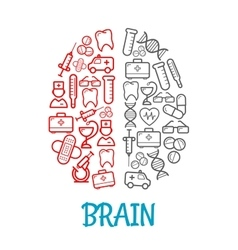 Medical sketch icons shaped as human brain symbol vector