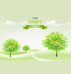 beautiful summer countryside landscape background vector image vector image