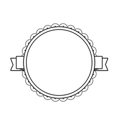 black circle label with lacy border vector image vector image