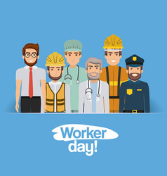 Blue clear card with group of male workers on vector