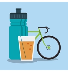 Bottle and healthy lifestyle design vector