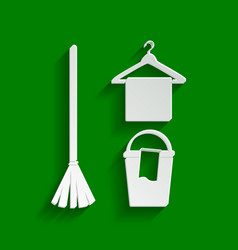 Broom bucket and hanger sign paper vector