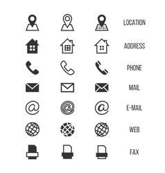 Business card icons home phone address vector