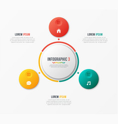 Circle chart template with 3 options vector