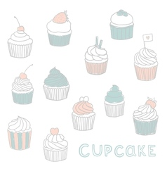 Cute hand drawn cupcakes vector