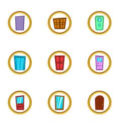 door exterior icons set cartoon style vector image