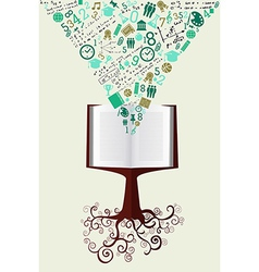 Education back to school green icons book tree vector image