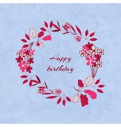 Floral birthday wreath vector image vector image