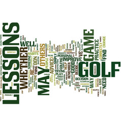 Golf lessons text background word cloud concept vector