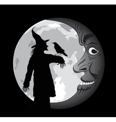 halloween poster with moon vector image