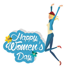 Happy womens day happy girl vector