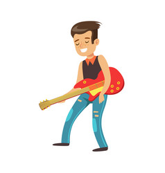 Happy young boy playing guitar colorful character vector