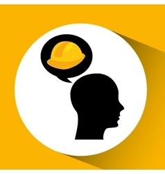 Head silhouette black icon helmet construction vector