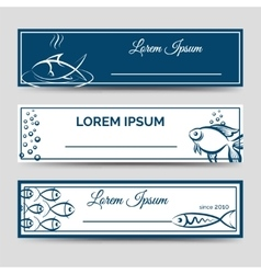 Horizontal banner set with fish vector image vector image