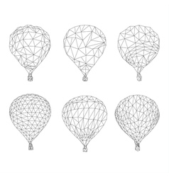 Hot air balloon polygon outline vector