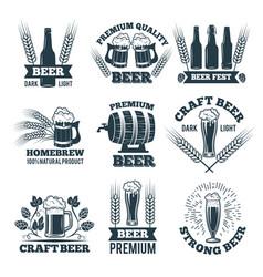 labels or badges set of beer elements for emblem vector image vector image