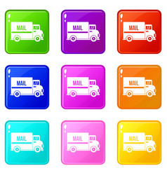 mail truck set 9 vector image vector image