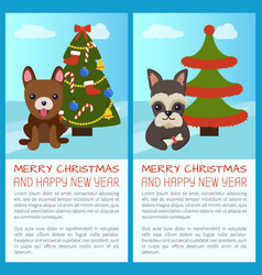 merry christmas tree and dogs vector image vector image