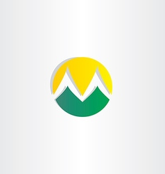 Mountains and sun logo letter m icon vector