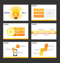 Orange light bulb presentation templates design vector image