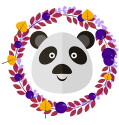 Panda and leafy wreath separated vector