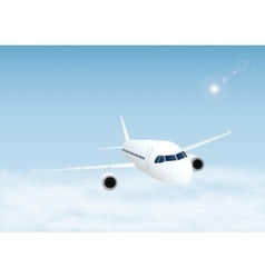 Plane in the sky with clouds vector image