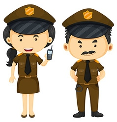 Police officers in brown uniform vector image vector image