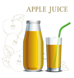 realistic apple juice in a jar and a glass vector image