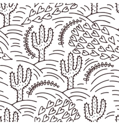 Seamless hand-drawn pattern with cactus and desert vector