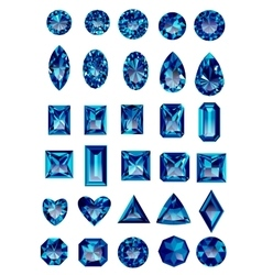 Set of realistic blue amethyst jewels vector