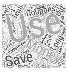Sm patience and saving money word cloud concept vector