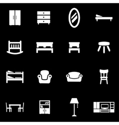 white furniture icon set vector image vector image