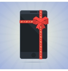 Wrapped smartphone with red ribbon and text gift vector