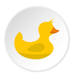 Yellow toy duck icon circle vector