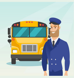 Young caucasian school bus driver vector